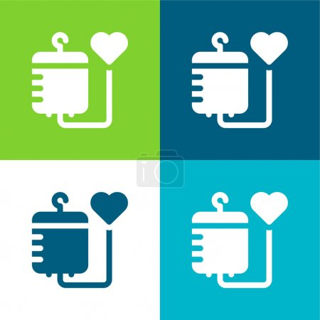 Photo for Blood Flat four color minimal icon set - Royalty Free Image