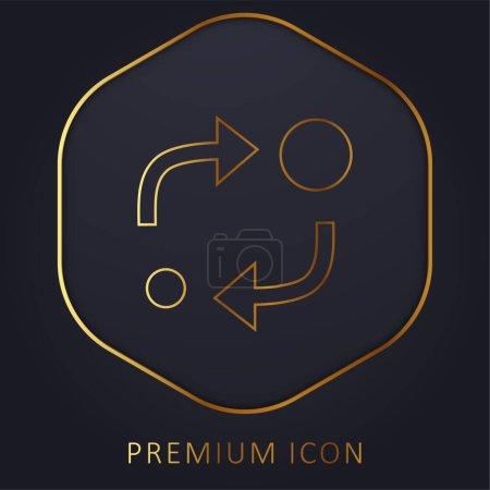 Illustration pour Symbole analytique de deux cercles de tailles différentes avec deux flèches entre eux ligne d'or logo premium ou icône - image libre de droit