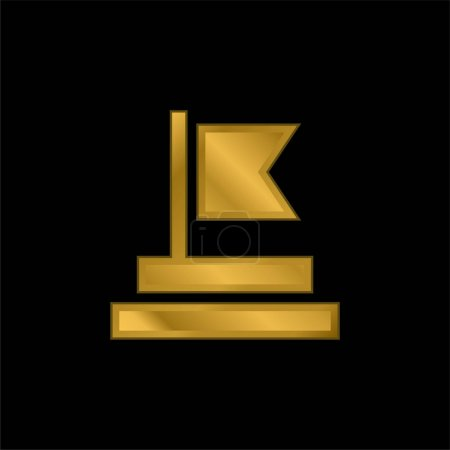 Achievement gold plated metalic icon or logo vector