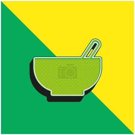 Illustration pour Bol avec cuillère Logo vectoriel 3d moderne vert et jaune - image libre de droit