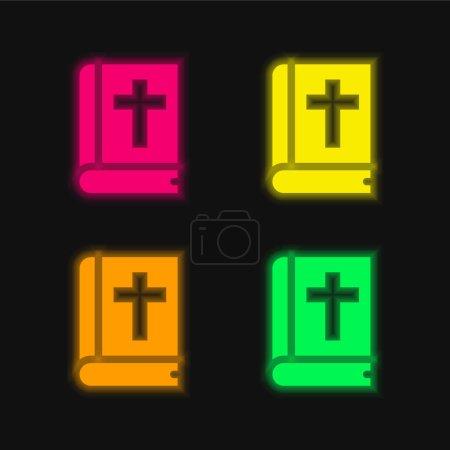 Photo pour Icône vectorielle néon éclatante bible à quatre couleurs - image libre de droit
