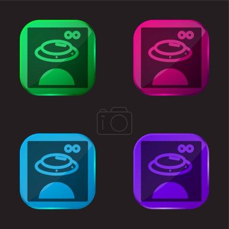 Illustration pour Ours Image sur carré boîte quatre couleur icône de bouton en verre - image libre de droit