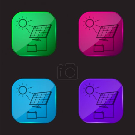 Illustration for Battery Charging With Solar Panel four color glass button icon - Royalty Free Image