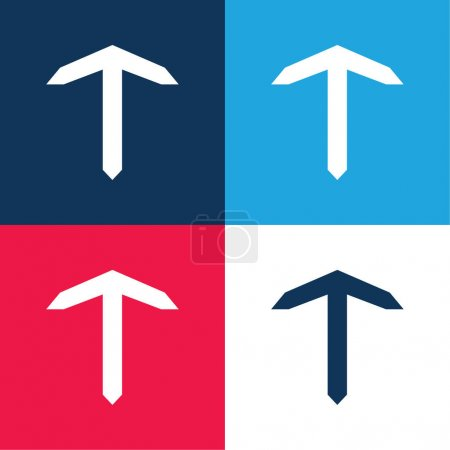 Illustration pour Ancre de bateau bleu et rouge quatre couleurs minimum jeu d'icônes - image libre de droit