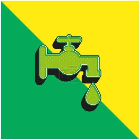 Outil de robinet de salle de bain Logo vectoriel 3d moderne vert et jaune