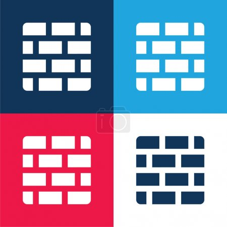 Illustration pour Briques bleu et rouge quatre couleurs minimum jeu d'icônes - image libre de droit