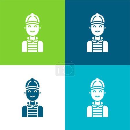 Garçon plat quatre couleurs minimum jeu d'icônes