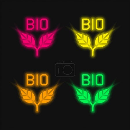 Bio four color glowing neon vector icon