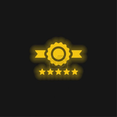 Illustration for Badge yellow glowing neon icon - Royalty Free Image