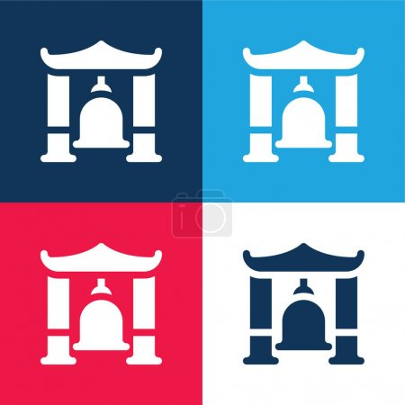 Photo pour Ensemble d'icônes minime quatre couleurs bleu et rouge Bell - image libre de droit