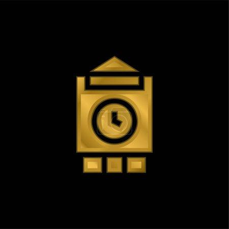 Big Ben gold plated metalic icon or logo vector