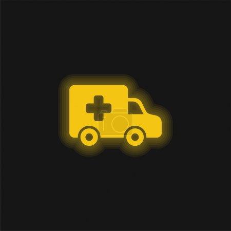 Illustration for Ambulance Side View yellow glowing neon icon - Royalty Free Image