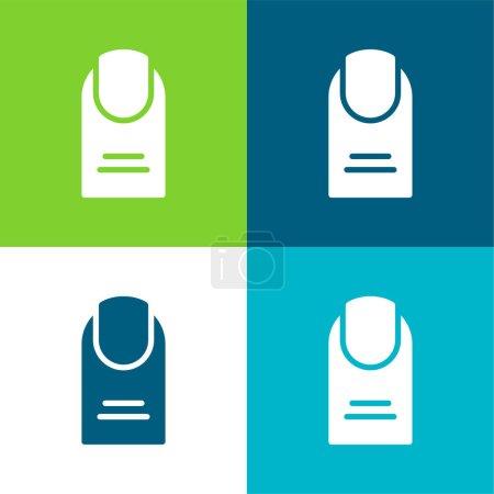 Illustration pour Big Finger Flat ensemble d'icônes minimes quatre couleurs - image libre de droit