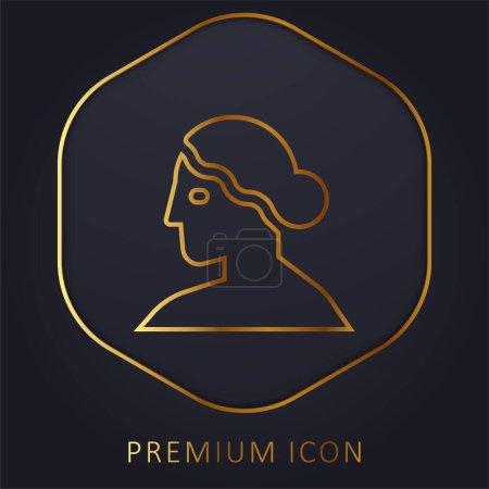 Logotipo o icono premium de línea dorada de Afrodita