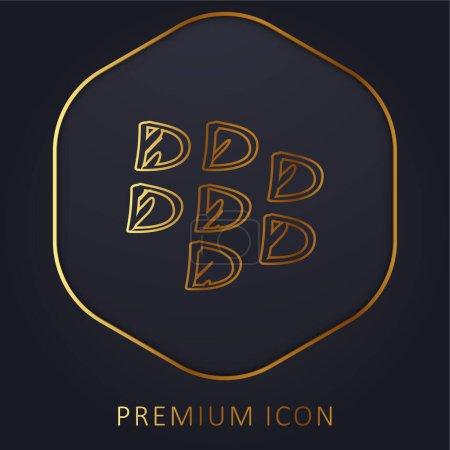Blackberry Sketched Social Logo Outline golden line premium logo or icon