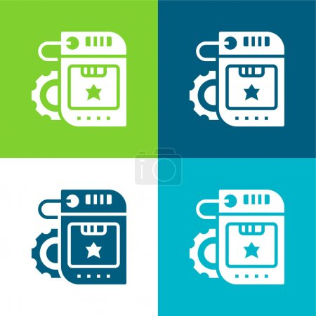 Illustration for Brand Flat four color minimal icon set - Royalty Free Image