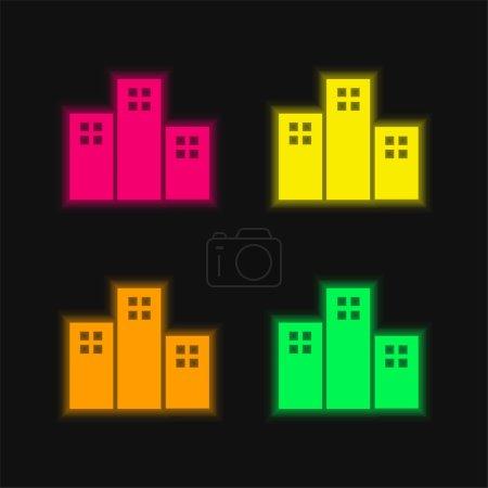 Photo pour Appartements Bâtiments quatre couleurs rougeoyantes icône vectorielle néon - image libre de droit