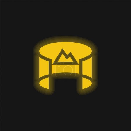 Illustration for 360 View yellow glowing neon icon - Royalty Free Image