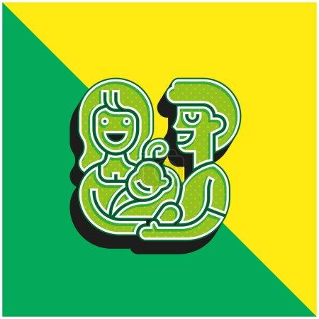 Annahme Grünes und gelbes modernes 3D-Vektorsymbol-Logo