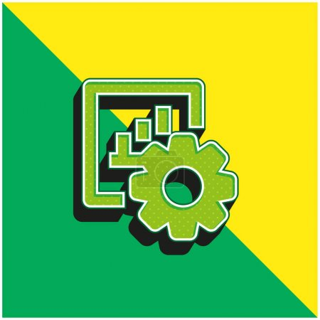 Illustration for Bar Graph Green and yellow modern 3d vector icon logo - Royalty Free Image
