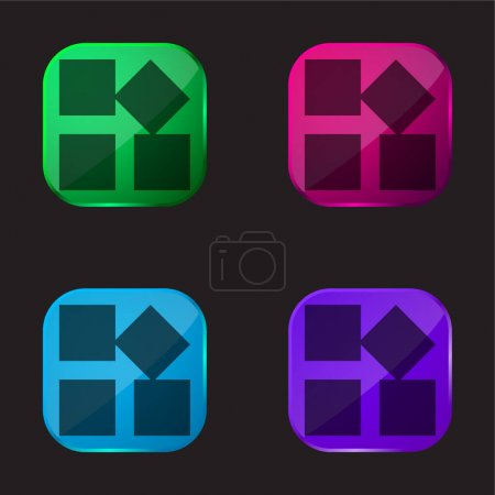 Illustration for App four color glass button icon - Royalty Free Image