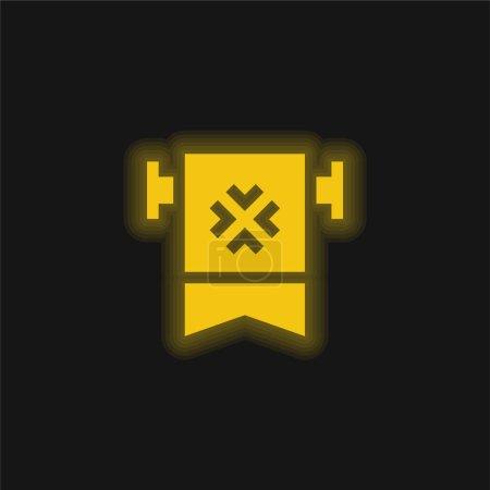 Illustration pour Bannière jaune brillant icône néon - image libre de droit