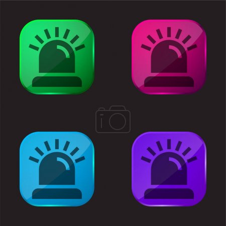 Illustration for Alarm four color glass button icon - Royalty Free Image
