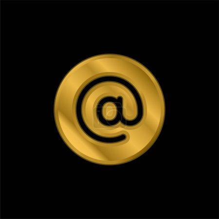 Illustration pour Icône métallique plaqué or Arroba ou vecteur de logo - image libre de droit