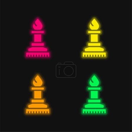 Bishop four color glowing neon vector icon