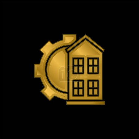 Illustration for Architectonic gold plated metalic icon or logo vector - Royalty Free Image