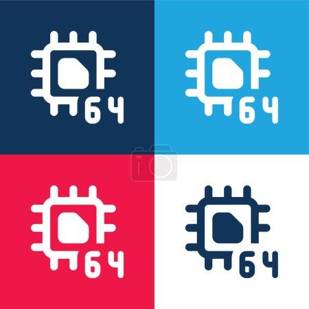 Illustration pour 64 Bit bleu et rouge quatre couleurs minimum jeu d'icônes - image libre de droit