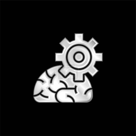 Illustration for Algorithm silver plated metallic icon - Royalty Free Image