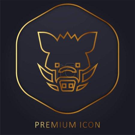 Illustration pour Sanglier ligne d'or logo premium ou icône - image libre de droit