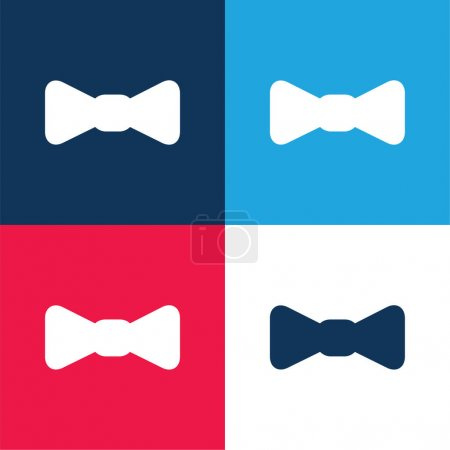 Illustration for Bow blue and red four color minimal icon set - Royalty Free Image