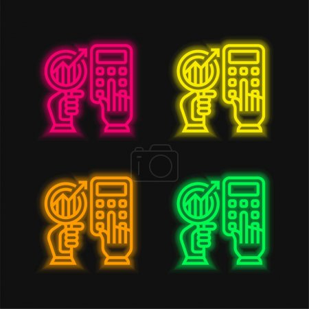 Illustration for Accounting four color glowing neon vector icon - Royalty Free Image