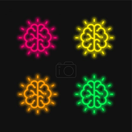 Illustration for Brain four color glowing neon vector icon - Royalty Free Image