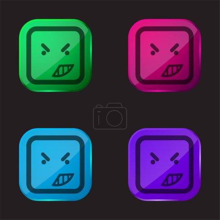 Colère sur le visage émoticône de rond carré contour icône bouton en verre de quatre couleurs