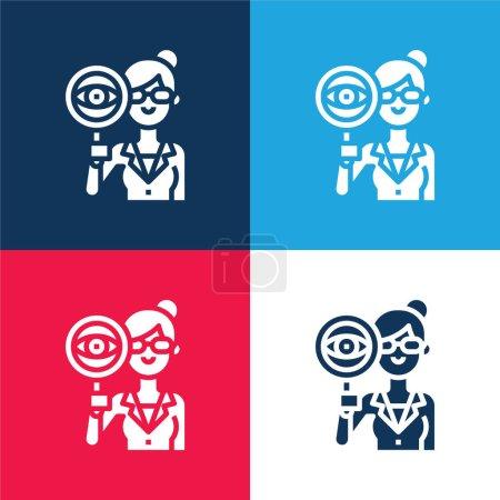 Illustration pour Auditeur bleu et rouge quatre couleurs minimum jeu d'icônes - image libre de droit