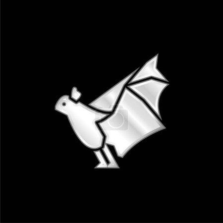 Illustration pour Chauve-souris argent plaqué icône métallique - image libre de droit