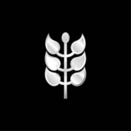 Illustration pour Branche avec feuilles argent plaqué icône métallique - image libre de droit