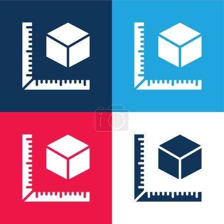 Illustration pour Impression 3D Mesurer bleu et rouge quatre couleurs minimum jeu d'icônes - image libre de droit