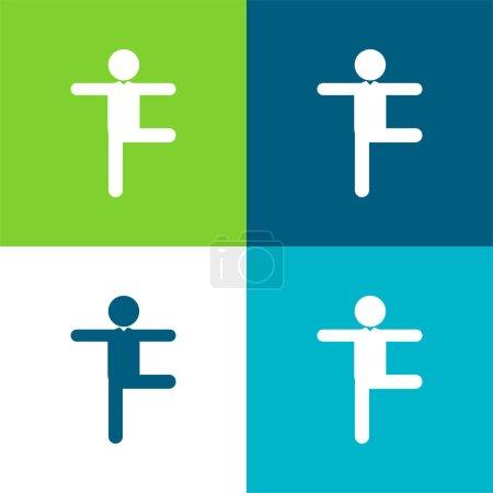 Illustration pour Balance Homme Posture Flat quatre couleurs minimum jeu d'icônes - image libre de droit