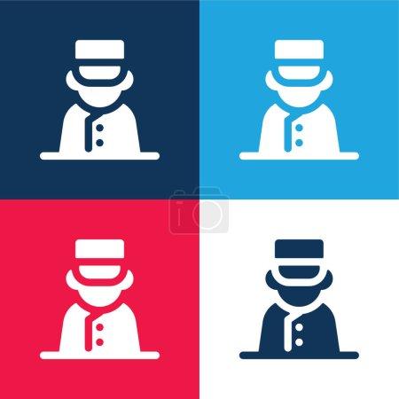 Photo pour Ensemble d'icônes minimes Bell Boy bleu et rouge quatre couleurs - image libre de droit
