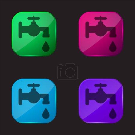 Bathroom Faucet Tool four color glass button icon