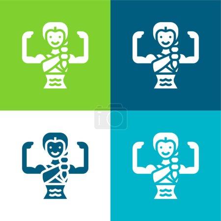Illustration pour Bodybuilding Flat four color minimal icon set - image libre de droit