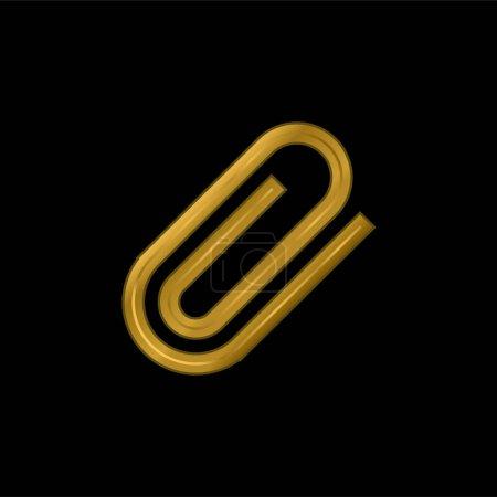 Illustration pour Attachez le symbole d'interface de l'icône métallique plaqué or de paperclip rotatif ou du vecteur de logo - image libre de droit