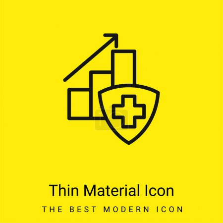Illustration pour Diagramme à barres avec une icône minimale de matériau jaune vif en croix - image libre de droit