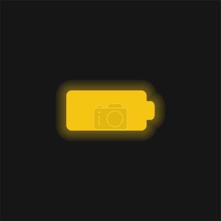 Schwarz Volle Batterie gelb leuchtende Neon-Symbol