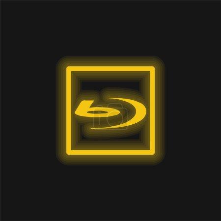 Illustration pour Icône néon jaune Blu Ray Sign - image libre de droit