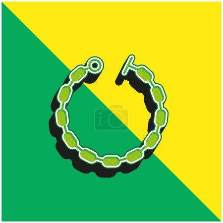 Illustration pour Bracelet Logo vectoriel 3d moderne vert et jaune - image libre de droit